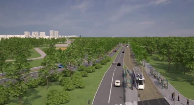 Wizualizacja Drogi Zielonej (Zielonego Bulwaru) z tramwajem.