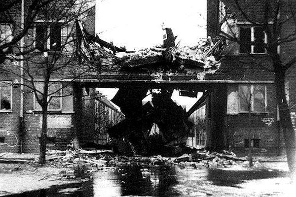 Zdjęcie miejsca katastrofy, luty 1954. Źródło: Pamięci lotników wojskowych 1945-2003.