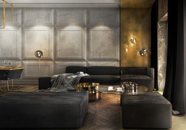 Stylizowane ściany i podłogi stanowią oprawę dla minimalistycznych mebli (proj. Ideograf).