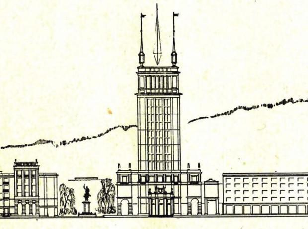 """Rysunek wieżowca, który ostatecznie nie powstał. Widok od strony wschodniej. Źródło: materiały promujące konferencję """"Gdańsk Niezaistniały"""", 2014"""
