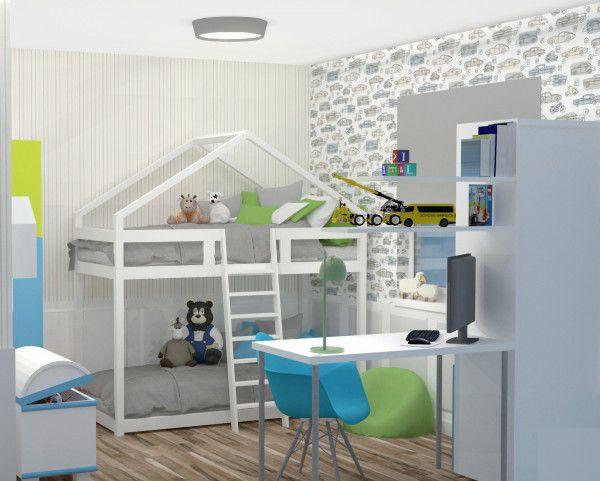 Wiodącym elementem w trzeciej koncepcji aranżacji małego pokoju jest łóżko piętrowe w formie domku. Białe elementy optycznie dodadzą przestrzeni, natomiast tapeta w pionowe  pasy sprawią, że pomieszczenie będzie wydawało się wyższe.