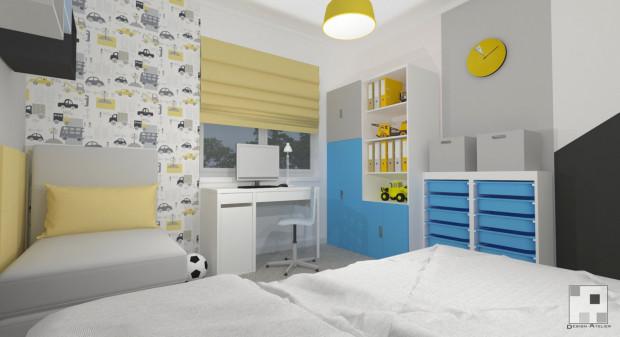 Ta koncepcja zakłada skorzystanie z dwóch osobnych łóżek. Dla mniejszego dziecka przewidziana została niewielka,  rozkładana sofa.