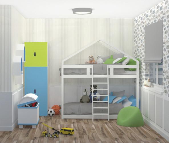 Nawet w małym pomieszczeniu musi być jak najwięcej miejsca do przechowywania. Dlatego obok regału znalazł się też kufer na zabawki.