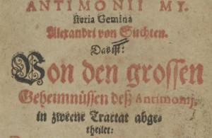 """Strona tytułowa dzieła """"Antimonii Mysteria Gemina"""" autorstwa Aleksandra Suchtena. Egzemplarz wydany w 1613 r. w Gerze, znajduje się w zbiorach biblioteki w Dreźnie."""