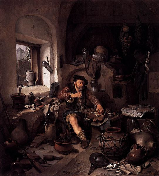 "Obraz holenderskiego malarza Cornelisa Begi pt. ""Alchemik"" (1663)"