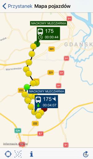 Aplikacja w telefonie wskazuje czas przyjazdu na przystanek oraz gdzie znajduje się nasz autobus lub tramwaj.