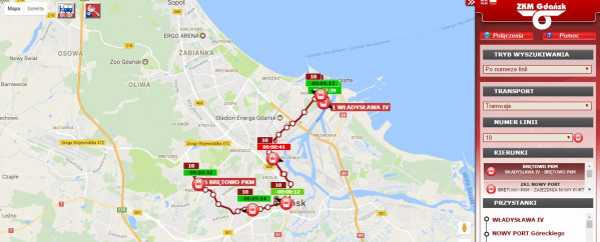 Na stronie info.zkm.pl można znaleźć informację o rzeczywistej pozycji gdańskich tramwajów i autobusów.