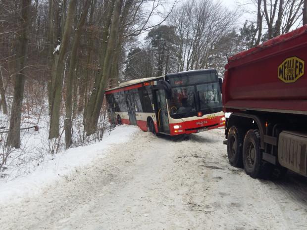 Kłopoty na drogach nie ustąpiły nawet w poniedziałek. Pod Gdańskiem autobus linii 256 wpadł do rowu.