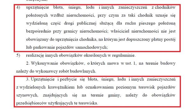 Wyciąg z ustawy o utrzymaniu czystości i porządku w gminach dot. sprzątania chodników ze śniegu.