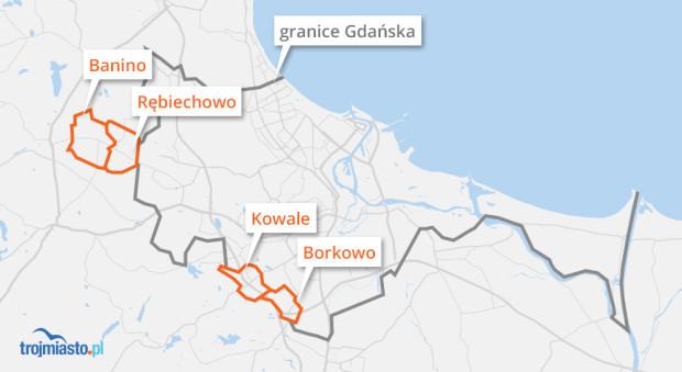 """Wsie i miejscowości, które mógłby """"wchłonąć"""" Gdańsk."""