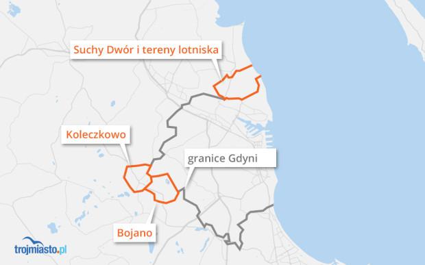 Gdynia mogłaby przejąć Suchy Dwór, Koleczkowo i Bojano.