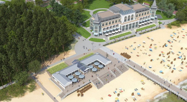 Tak miała wyglądać Hala Plażowa po odbudowaniu. Na razie nie wiadomo, czy nowy inwestor odtworzy hotel w historycznym kształcie.