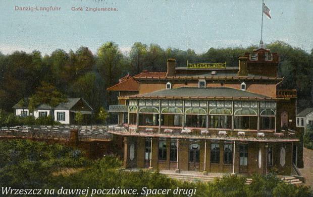 """Budynek Café Zinglershöhe widziany od strony Am Johannisberg (ul. Sobótki), między 1901 a 1914. [źródło: """"Wrzeszcz na dawnej pocztówce. Spacer drugi""""]"""
