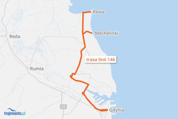 Trasa linii 146 wiedzie z Gdyni przez Mechelinki do Rewy.