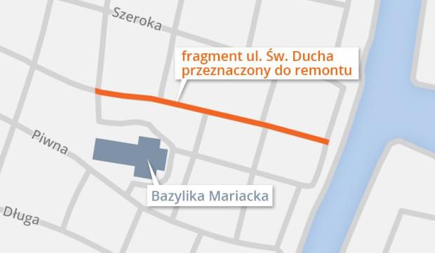 Planowany odcinek ul. św. Ducha do remontu.