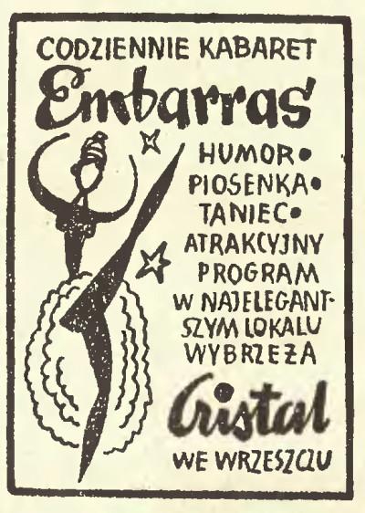 """Reklama Cristalu w """"Dzienniku Bałtyckim"""" z 16 IX 1961 (bibliotekacyfrowa.eu)"""