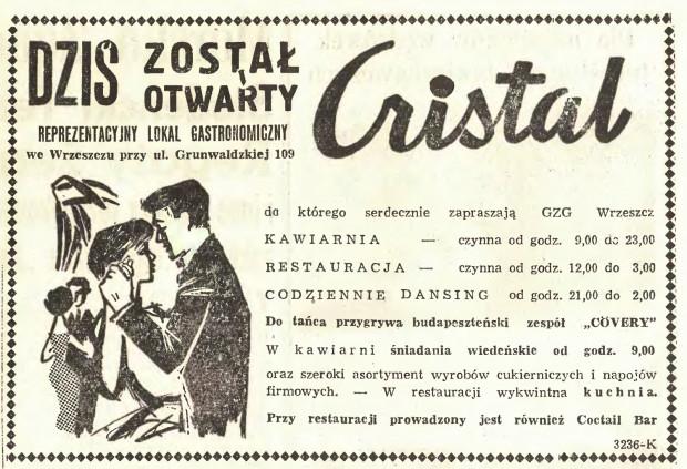 """Reklama Cristalu w """"Dzienniku Bałtyckim"""" z 1 VII 1961 (bibliotekacyfrowa.eu)"""