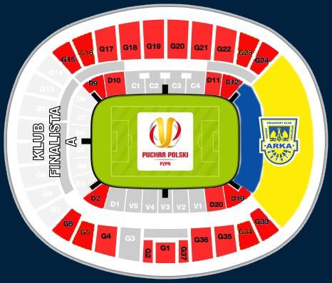 Sektory na Stadionie Narodowym w Warszawie na mecz finału Pucharu Polski 2017.