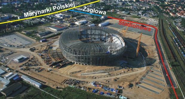 """Nowa ulica zaznaczona jest kolorem czerwonym. Jej robocza nazwa to """"Stadionowa""""."""
