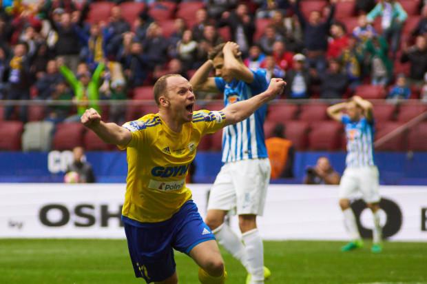 Tak cieszył się Rafał Siemaszko z bramki na 1:0 w dogrywce finału Pucharu Polski.