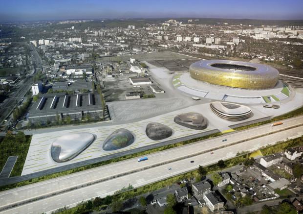 Wstępna koncepcja zagospodarowania terenów przy stadionie w Gdańsku. Firmy, które zgłosiły się do tego przedsięwzięcia mają inne pomysły na zabudowę.