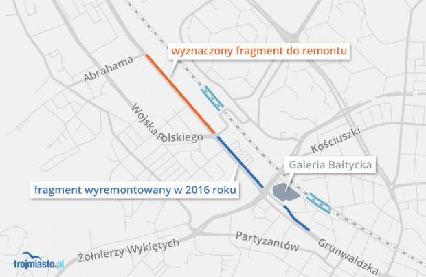 Wyznaczony do remontu odcinek al. Grunwaldzkiej oraz fragment już zmodernizowany.