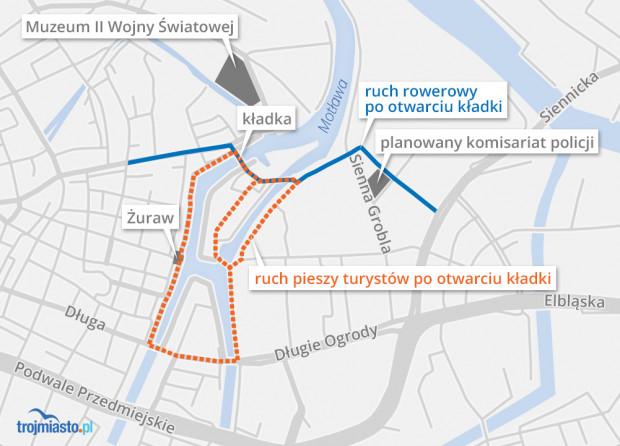 Nowe piesze i rowerowe szlaki po otwarciu kładki.