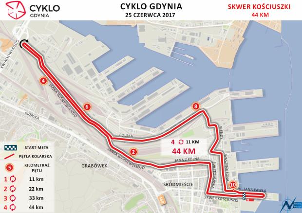 Trasa niedzielnej pętli kolarzy w centrum Gdyni.