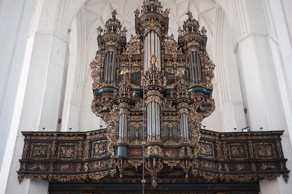 Znajdujące się obecnie w bazylice Mariackiej organy są dziełem firmy braci Hillebrand z Hanoweru. Prospekt natomiast, wraz z grającymi piszczałkami, pochodzi z organów Mertena Friesena z 1627 r. z kościoła św. Jana.