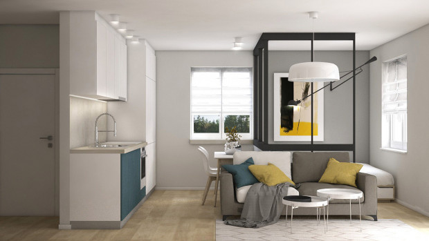 Koncepcja druga opiera się na bardziej radykalnej aranżacji wnętrza. W tym przypadku nie mamy takiej dowolności w przemeblowywaniu mieszkania.