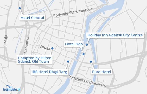 Hotele aktualnie budowane w centrum Gdańska.