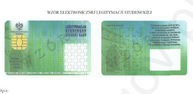 Elektroniczna legitymacja studencka zawiera m.in. naklejkę z hologramem, zdjęcie i dane osobowe studenta.