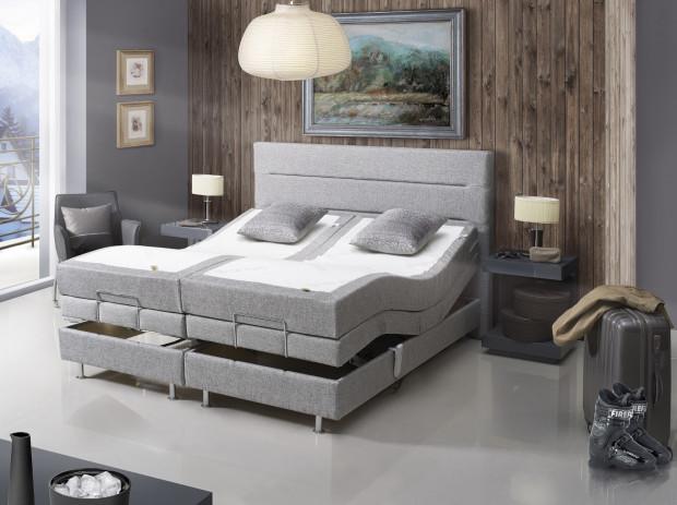 JMB Scand, łóżko z elektrycznie, płynnie regulowanymi stelażami pozwala nam dostosować kształt łóżka do aktualnych potrzeb, cena od 11 434 zł