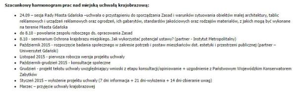 Harmonogram prac nad gdańską uchwałą krajobrazową (błędnie podano styczeń 2015 r. zamiast 2016 r.), ogłoszony we wrześniu 2015 r.