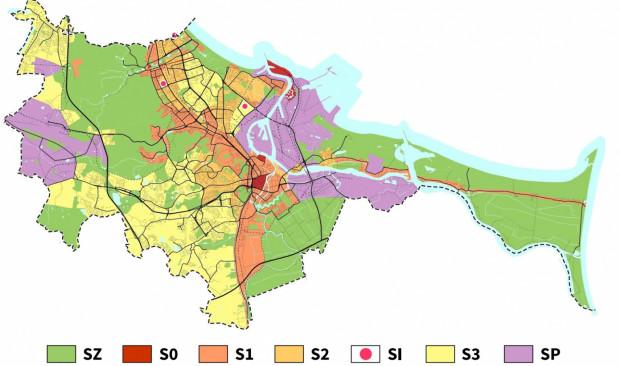 Najnowsza wersja podziału miasta na strefy reklamowe z lutego br. SZ - obszar publicznej zieleni, lasy, parki, cmentarze itp., S0 - tereny zespołów i obiektów o najwyższym znaczeniu dla tożsamości miasta, S1 - S3 kolejne strefy restrykcji, SP - tereny przemysłowe, SI - obiekty indywidualnej promocji.
