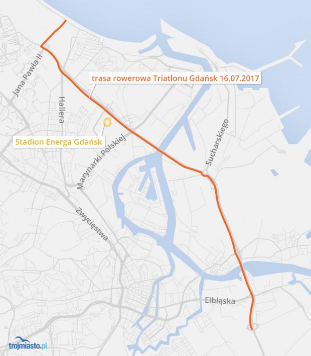 Mapa rowerowej części zawodów triathlonowych, które wywołają utrudnienia na drogach.