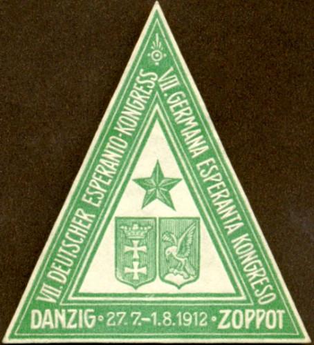 Pamiątkowa plakietka zorganizowanego w 1912 r. w Gdańsku i Sopocie Ogólnoniemieckiego Zjazdu Niemieckich Esperantystów, 1912 r. (ze zbiorów ÖNB Wien)