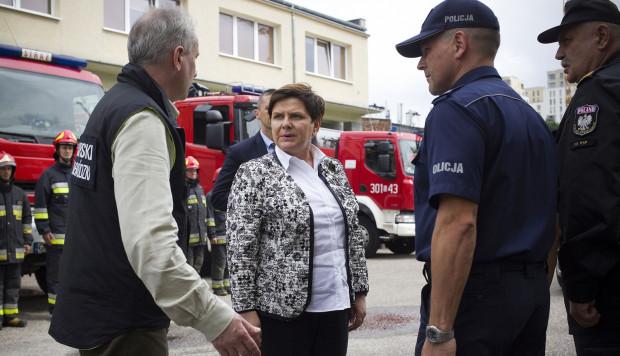 Premier Beata Szydło na odprawie służb w Gdańsku.