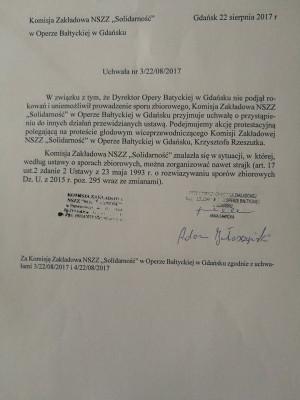 Pismo wyjaśniające działania protestującego pracownika Opery Bałtyckiej, przygotowane dzień po rozpoczęciu przez niego protestu.