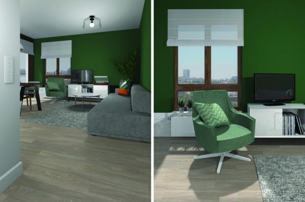 Druga koncepcja zakłada, że część dzienna jest zaakcentowana mocnym szmaragdowym odcieniem zieleni. Przy podłodze opaska z jasnego kamienia została zaplanowana na całej długości ściany z oknem i kanapą.