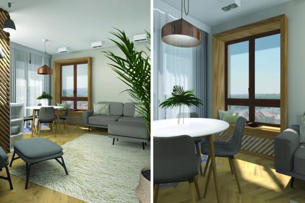 Pierwsza koncepcja opiera się na wykorzystaniu odcieni bieli, szarości i beżu, z wieloma elementami jasnego drewna. Rama dookoła okna zakłada wygospodarowanie siedziska na niskim parapecie.