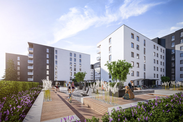 Harmonia Oliwska. Wnętrze osiedla zostanie zagospodarowane małą architekturą i zielenią.