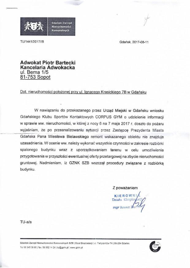 Pismo, w którym miasto informuje władze klubu, że Gdański Zarząd Nieruchomości Komunalnych wszczął procedury związane z rozbiórką budynku.
