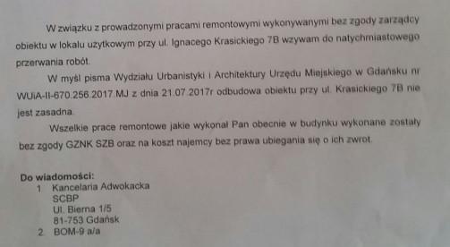 Treść pisma jakie Dobrosław Bielecki otrzymał zaraz po publikacji artykułu na Trojmiasto.pl