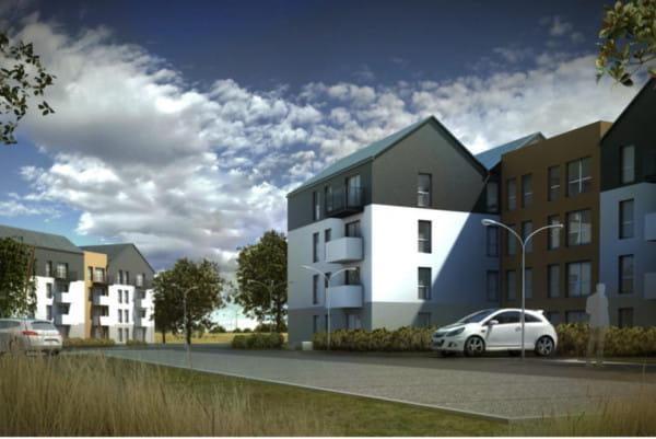 """Tak prezentuje się pierwsza inwestycja w ramach programu """"Mieszkanie Plus"""" w Trójmieście. W Gdyni przy ul. Starochwaszczyńskiej do końca przyszłego roku ma powstać sześć budynków ze 172 mieszkaniami."""