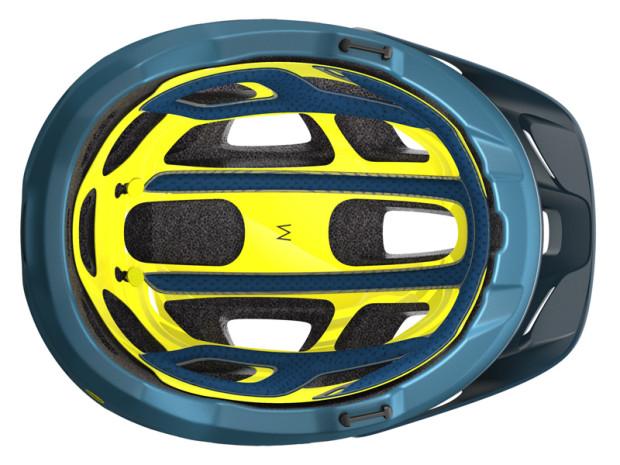 Kask Scott Vivo wyposażony w system MIPS, czyli widoczne żółte wyściełanie kasku.