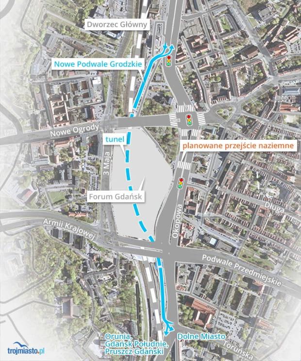 Podziemne Nowe Podwale Grodzkie pozwoli części kierowców ominąć Hucisko i pasy dla pieszych przy Bramie Wyżynnej.