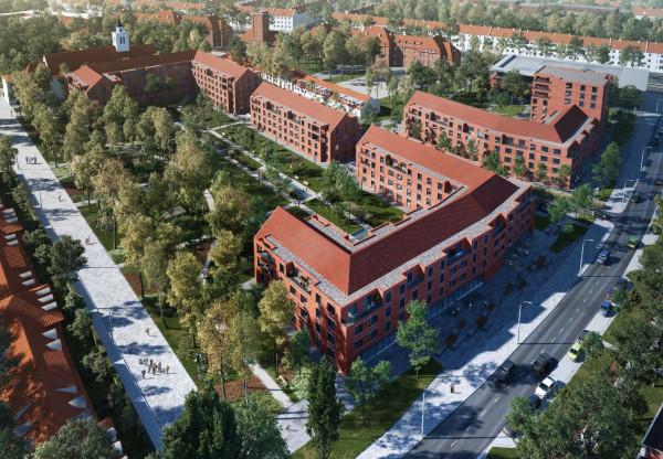 Koncepcja zabudowy terenu budynkami mieszkaniowymi i parkiem.