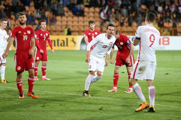 Tak Rafał Wolski cieszył się z gola zdobytego z Armenią.