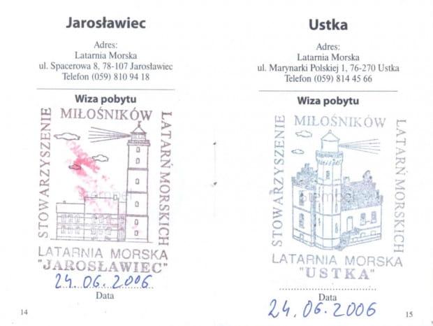 Jedna z kart latarnianego paszportu. Stemple potwierdzają wizyty w latarni morskiej Jarosławiec i Ustka.